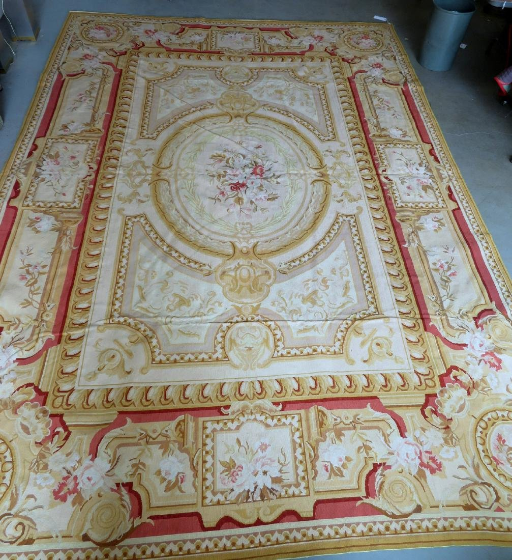 Classical aubusson-baroque style floral needlepoint - 2