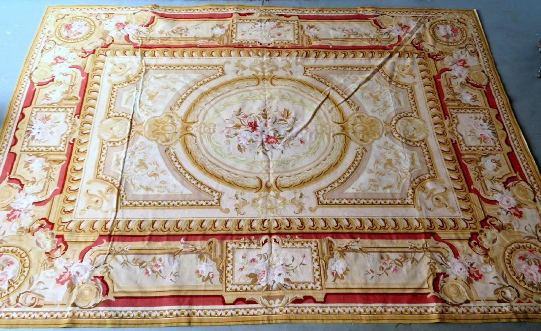 Classical aubusson-baroque style floral needlepoint - 3