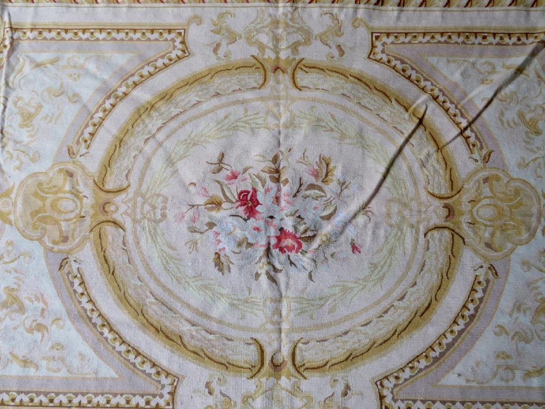 Classical aubusson-baroque style floral needlepoint - 4