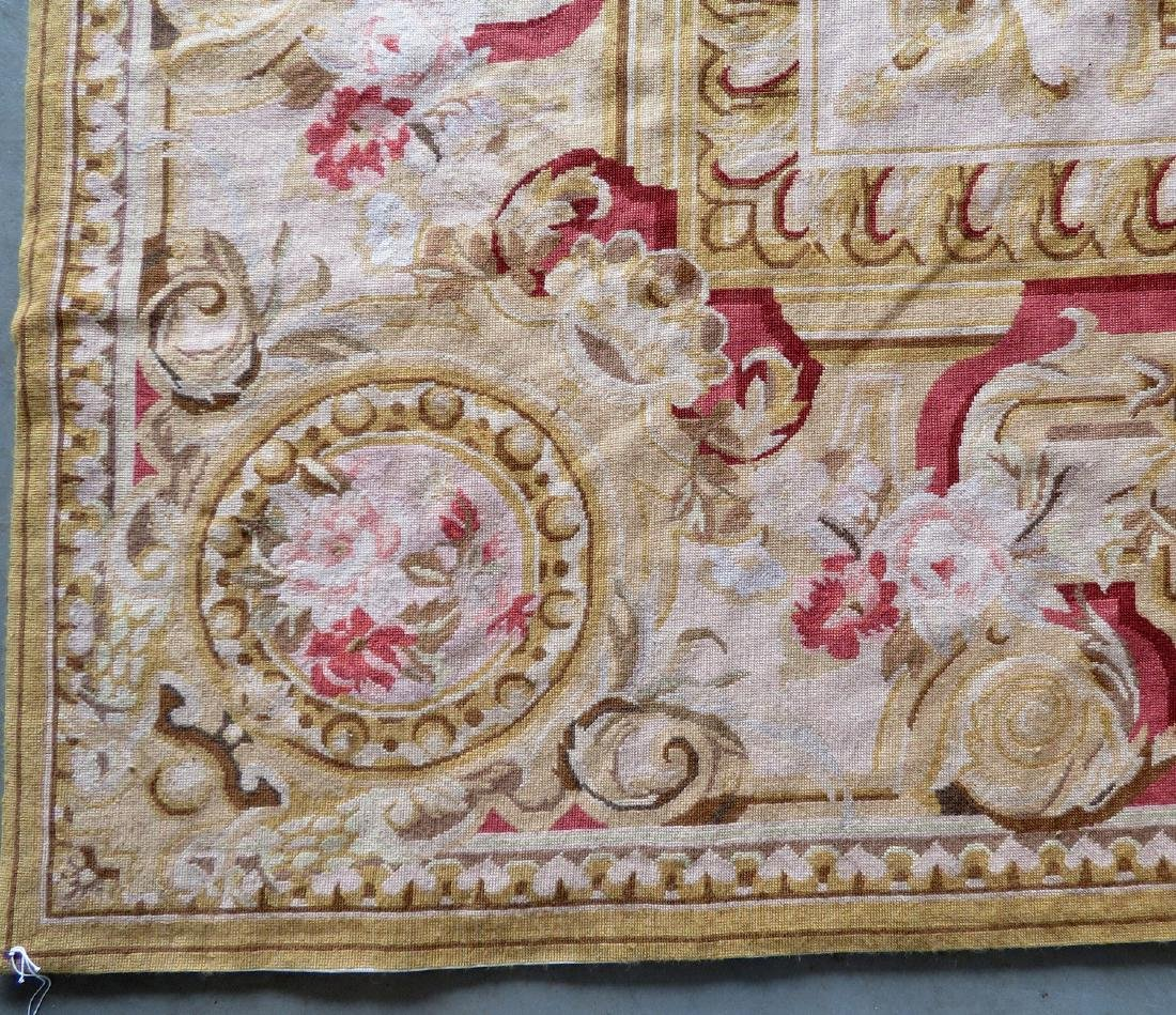 Classical aubusson-baroque style floral needlepoint - 5