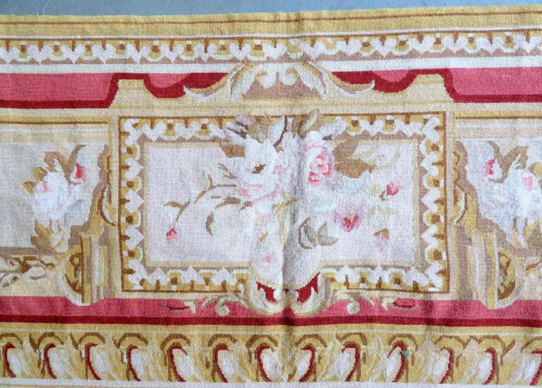 Classical aubusson-baroque style floral needlepoint - 6