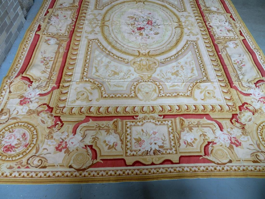 Classical aubusson-baroque style floral needlepoint - 7