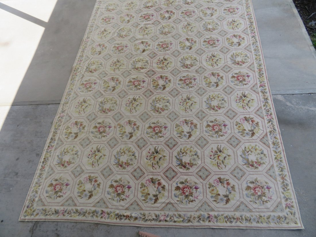 Large Aubusson floral needlepoint rug. - 3