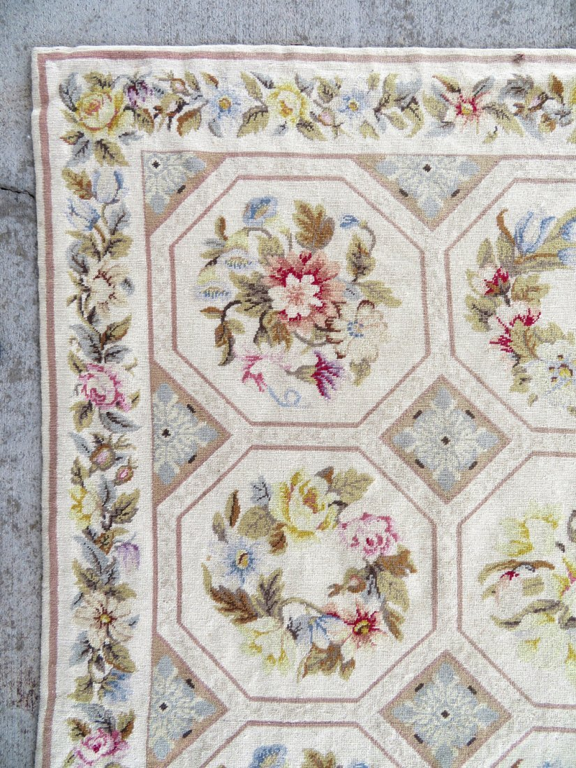 Large Aubusson floral needlepoint rug. - 4