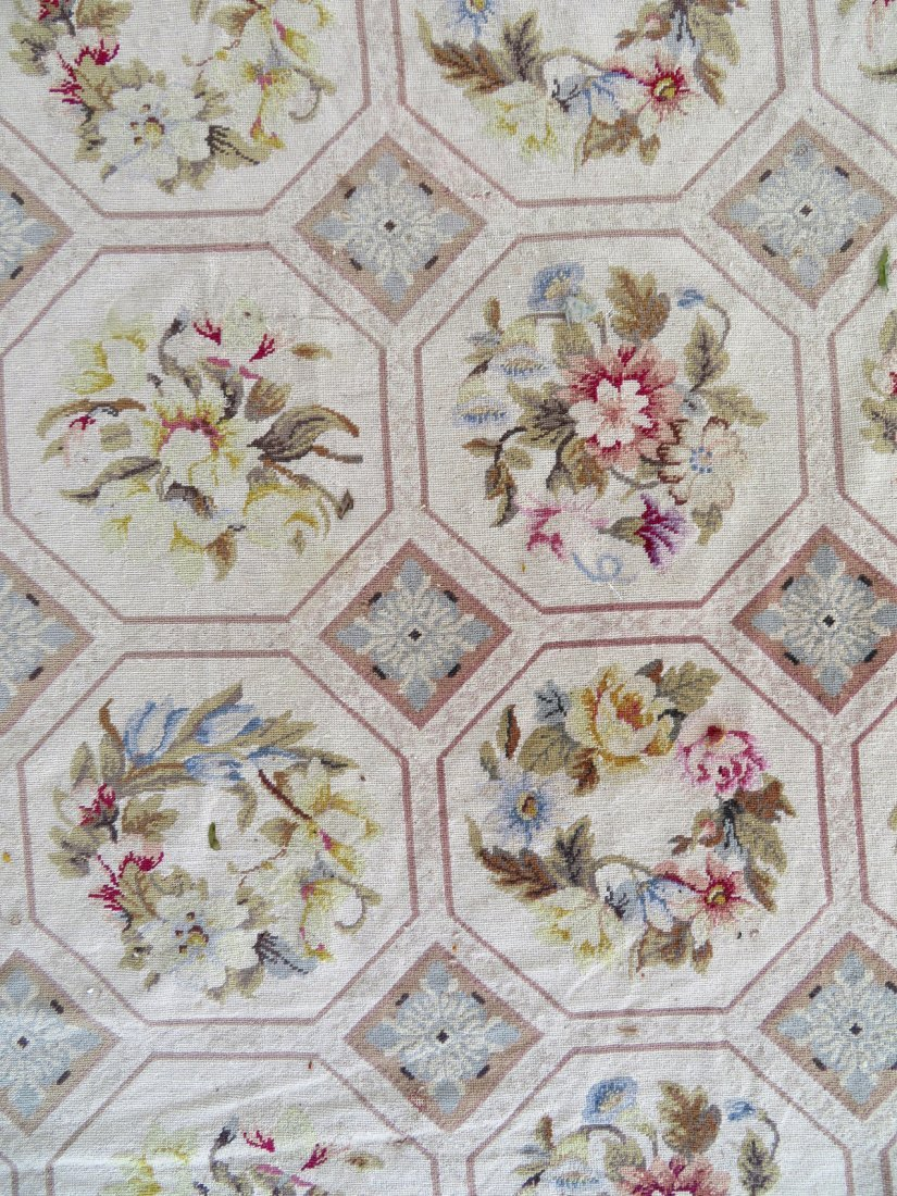 Large Aubusson floral needlepoint rug. - 5