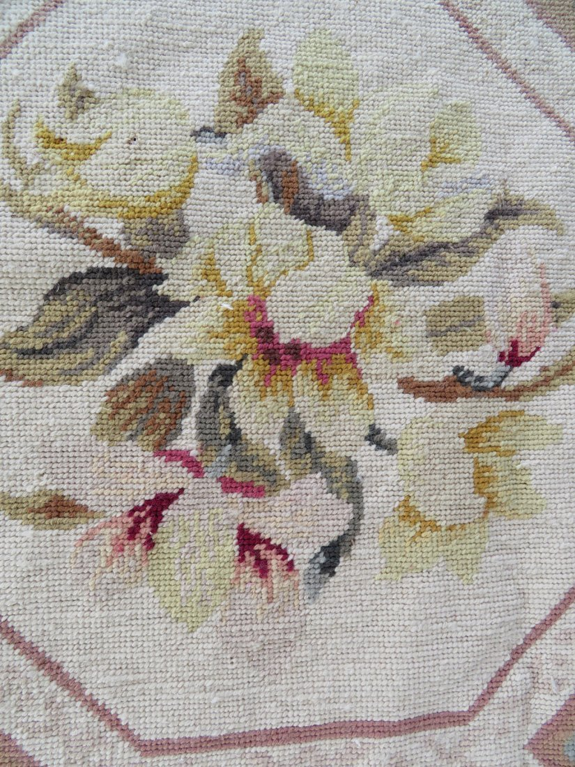 Large Aubusson floral needlepoint rug. - 6