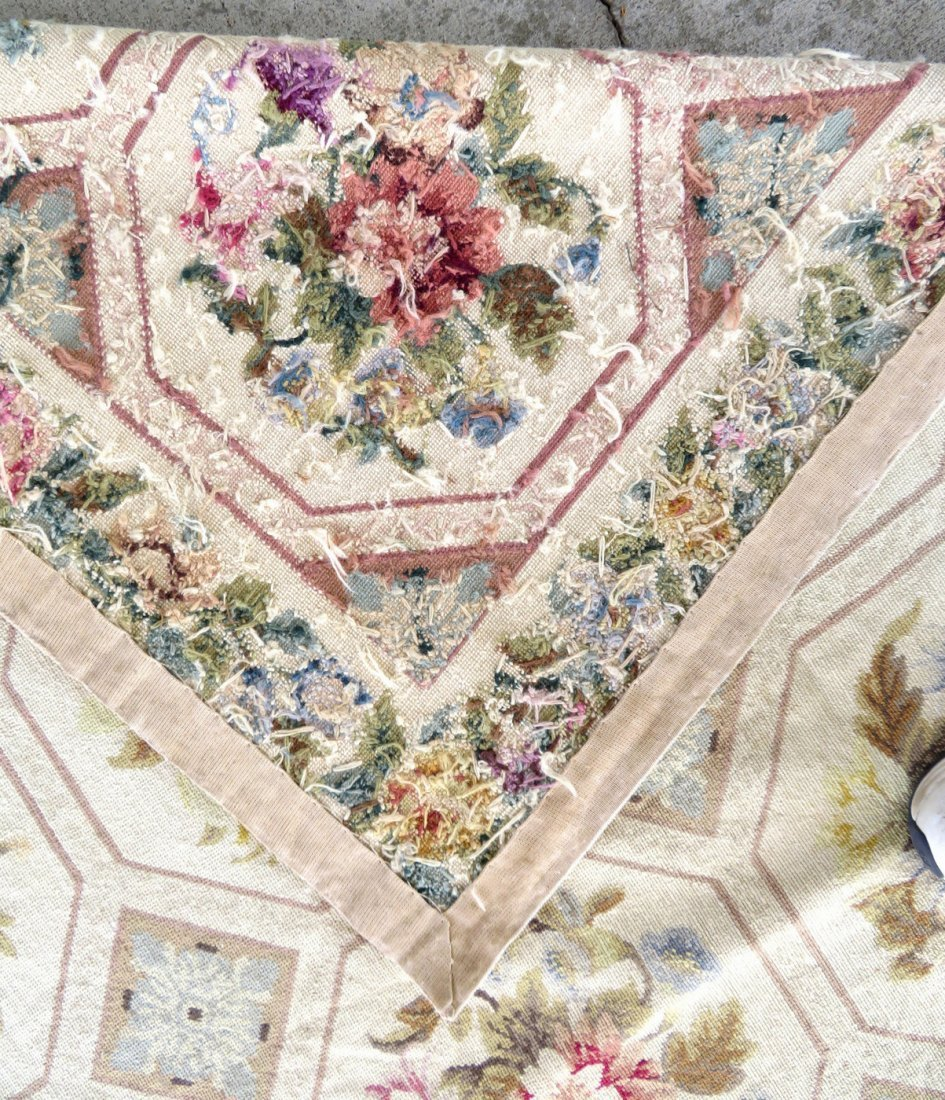 Large Aubusson floral needlepoint rug. - 7