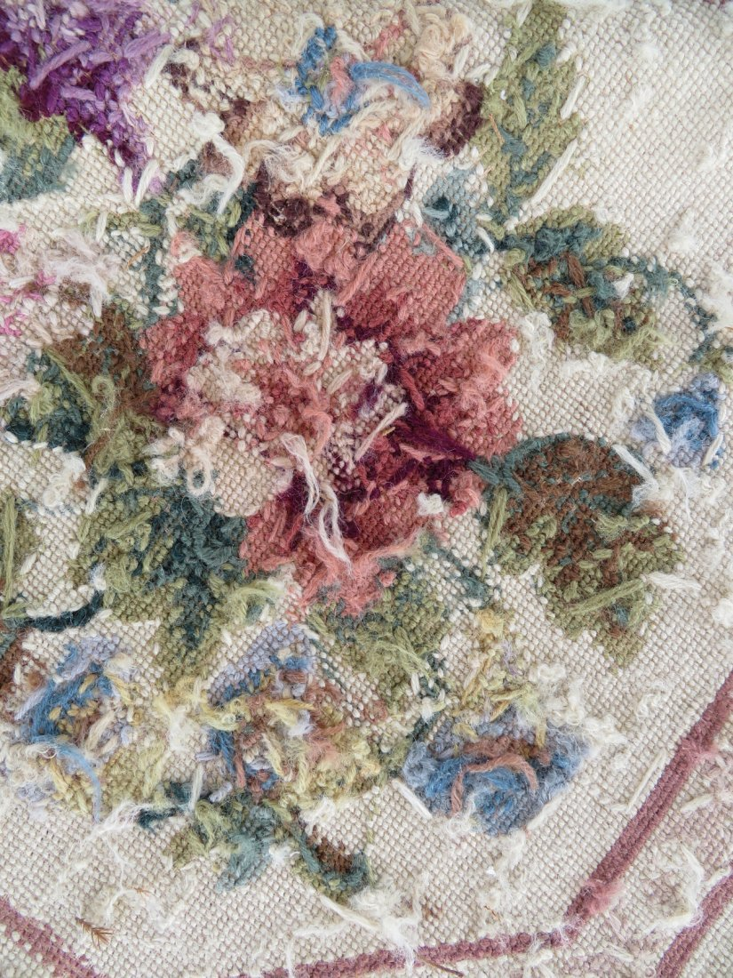 Large Aubusson floral needlepoint rug. - 8