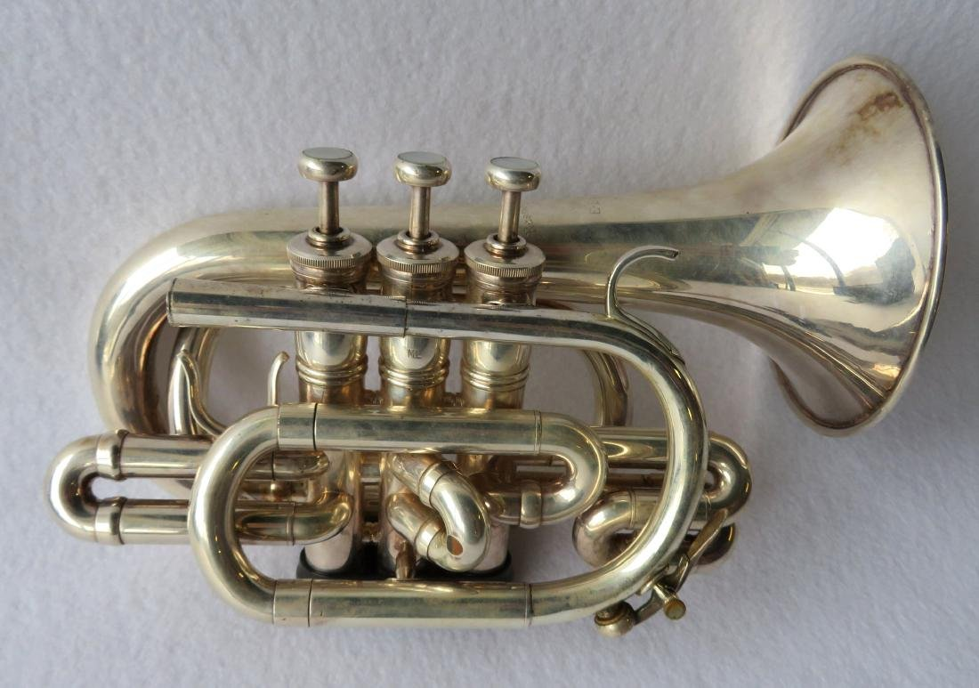 Pocket Trumpet - E. Benge - marked Resno-Tempered bell, - 4
