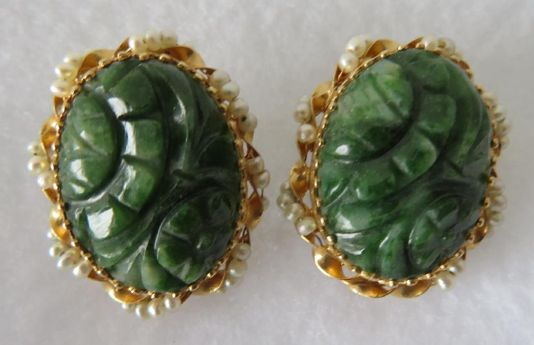 Carved spinach jade and seed pearl 14k earrings. Once