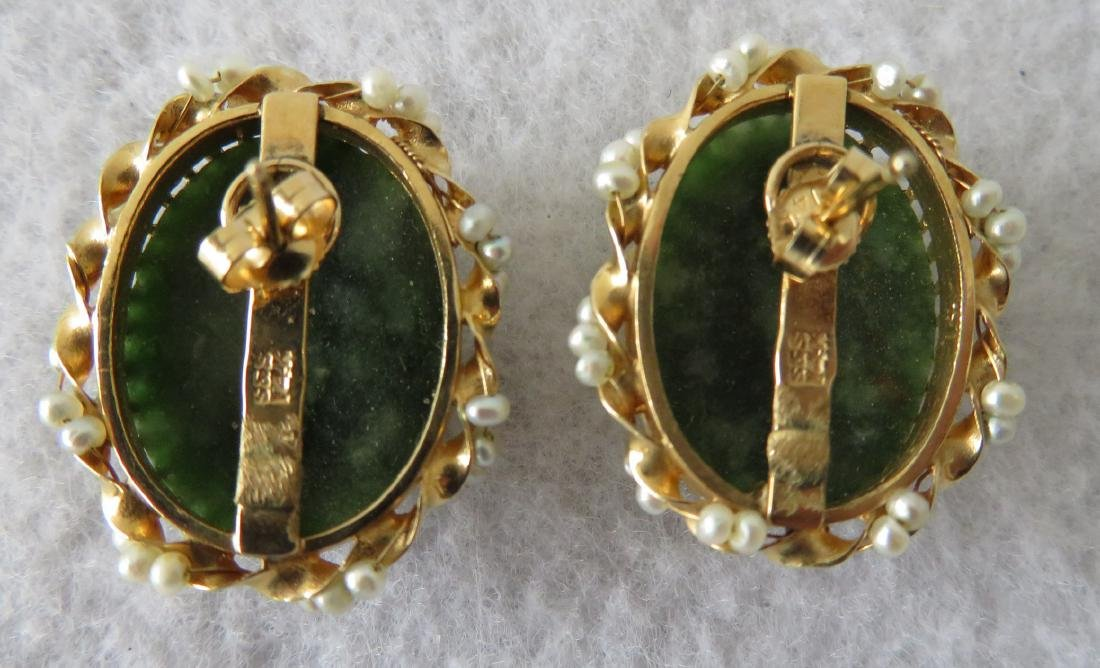 Carved spinach jade and seed pearl 14k earrings. Once - 2