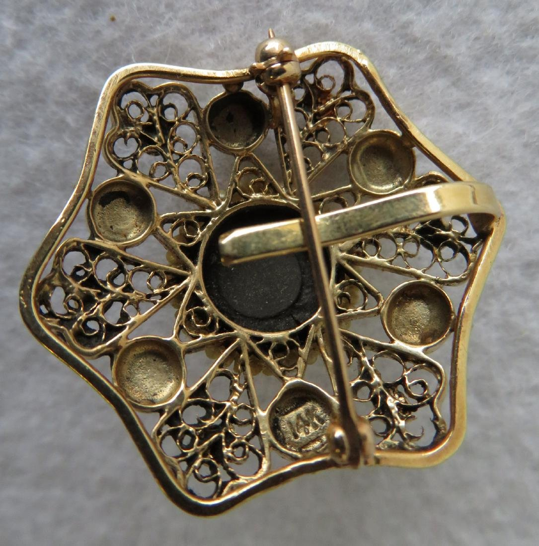 Star shaped brooch - 14k with Persian turquoise stones - 2