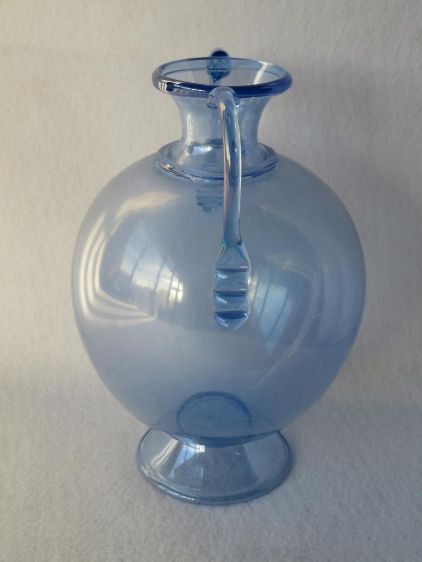 Hand blown double handle transparent blue vase on - 2