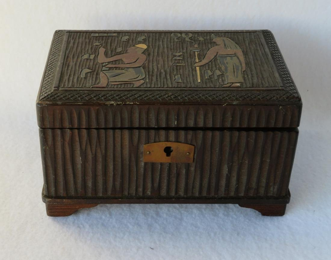 Small Art Deco ladies trinket/music box. The lid with