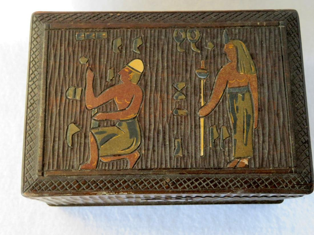 Small Art Deco ladies trinket/music box. The lid with - 2
