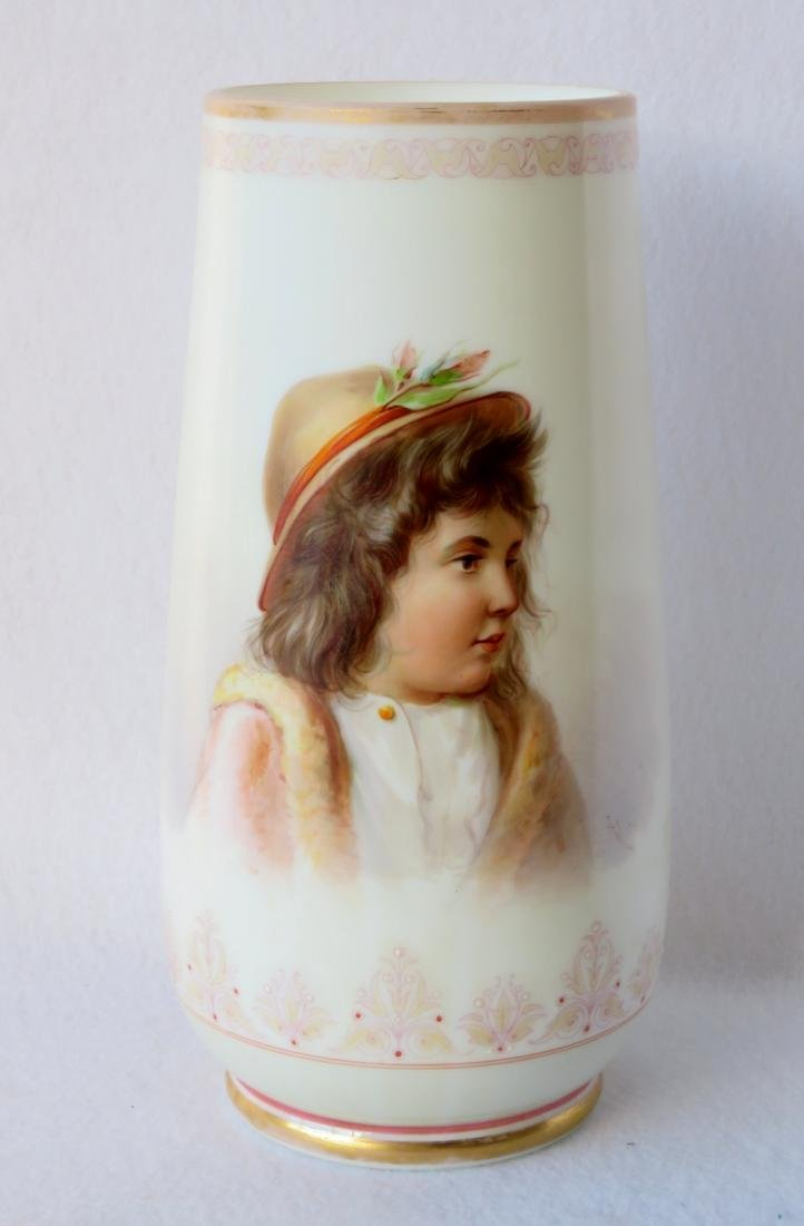 Large Victorian Bristol vase with hand painted portrait