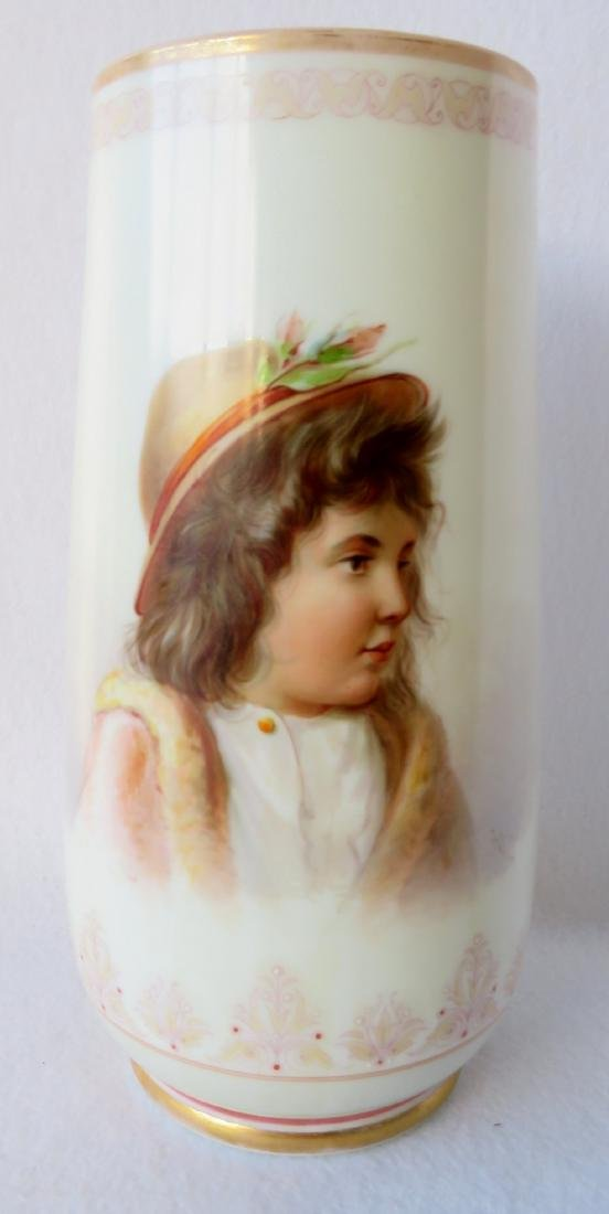 Large Victorian Bristol vase with hand painted portrait - 2