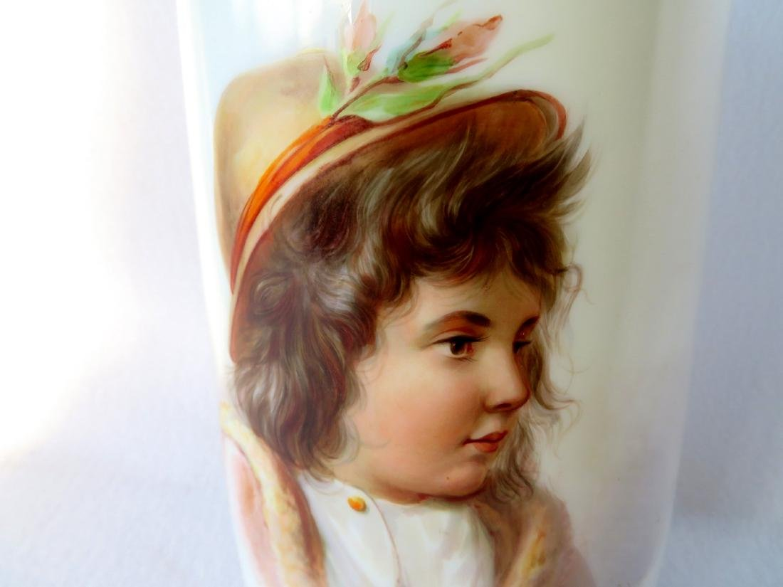 Large Victorian Bristol vase with hand painted portrait - 3