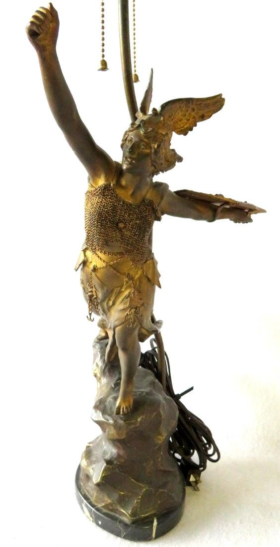 A Norse Valkyrie mythological figural bronze table lamp