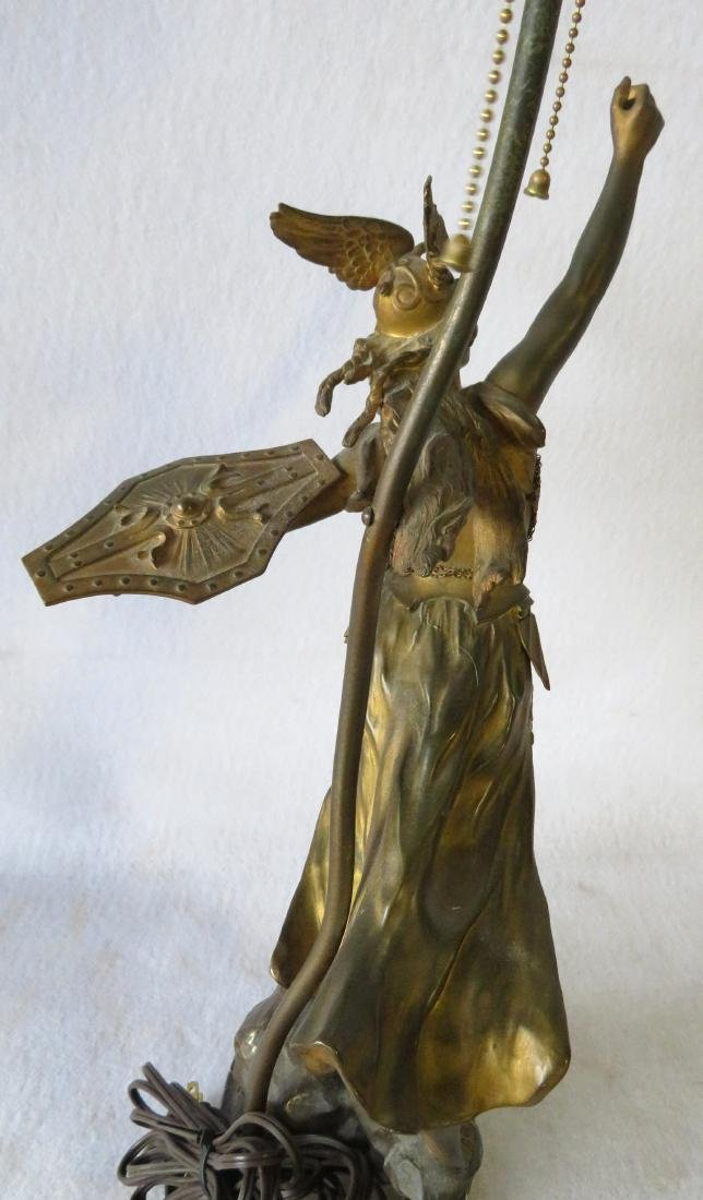 A Norse Valkyrie mythological figural bronze table lamp - 3