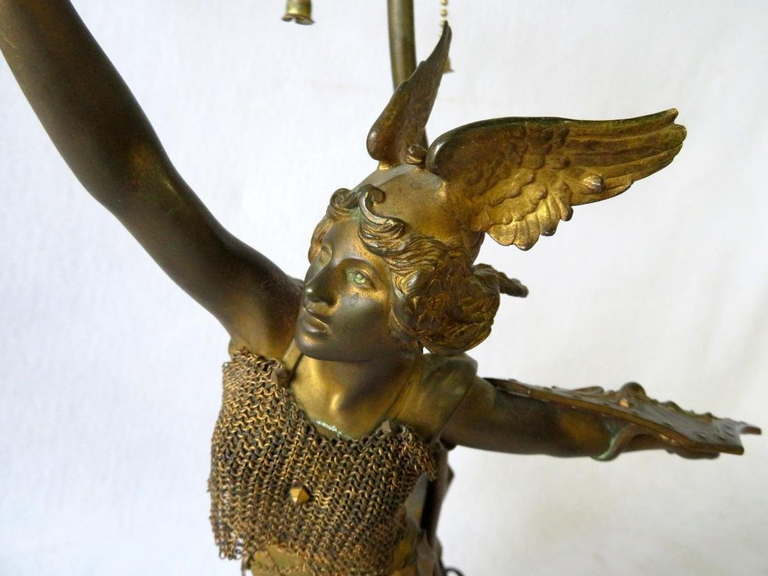 A Norse Valkyrie mythological figural bronze table lamp - 6
