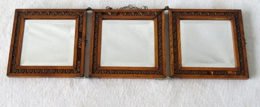 Oak folding beveled glass dresser mirror, early 20th - 2
