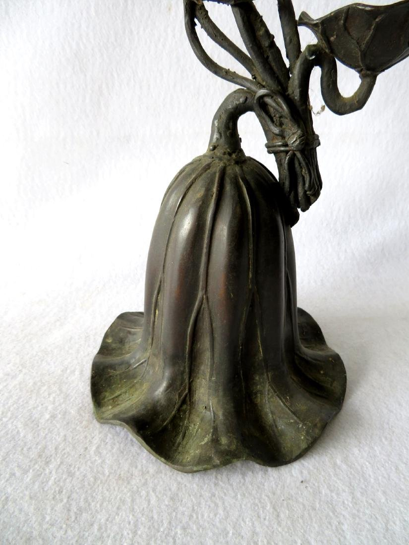 Patinated bronze floor standing candelabra with 3 - 5