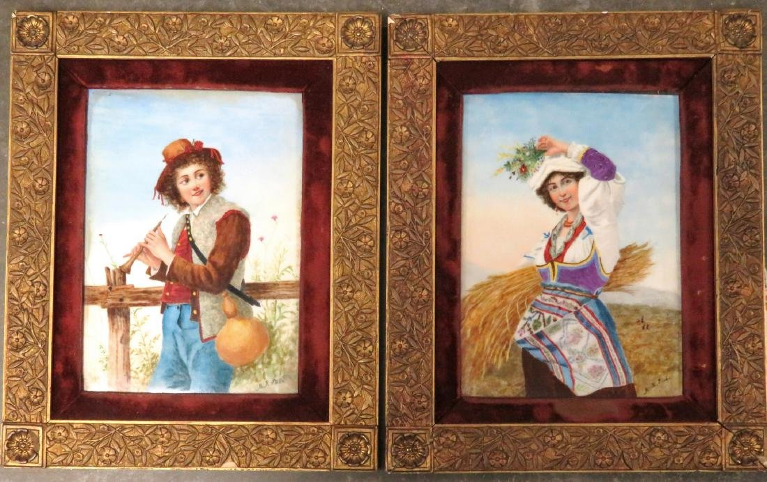 Pair of European portraits on porcelain panels in