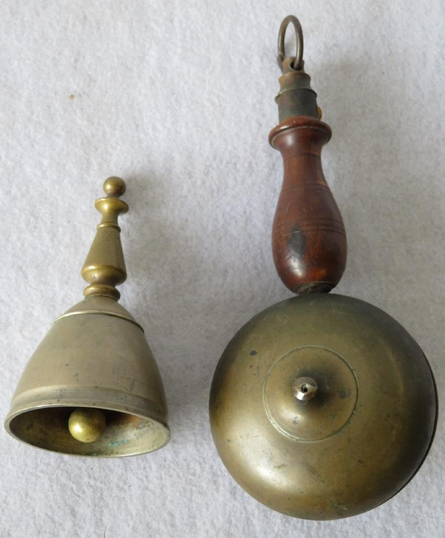 Two early brass bells: Fireman's hand held muffin bell - 2