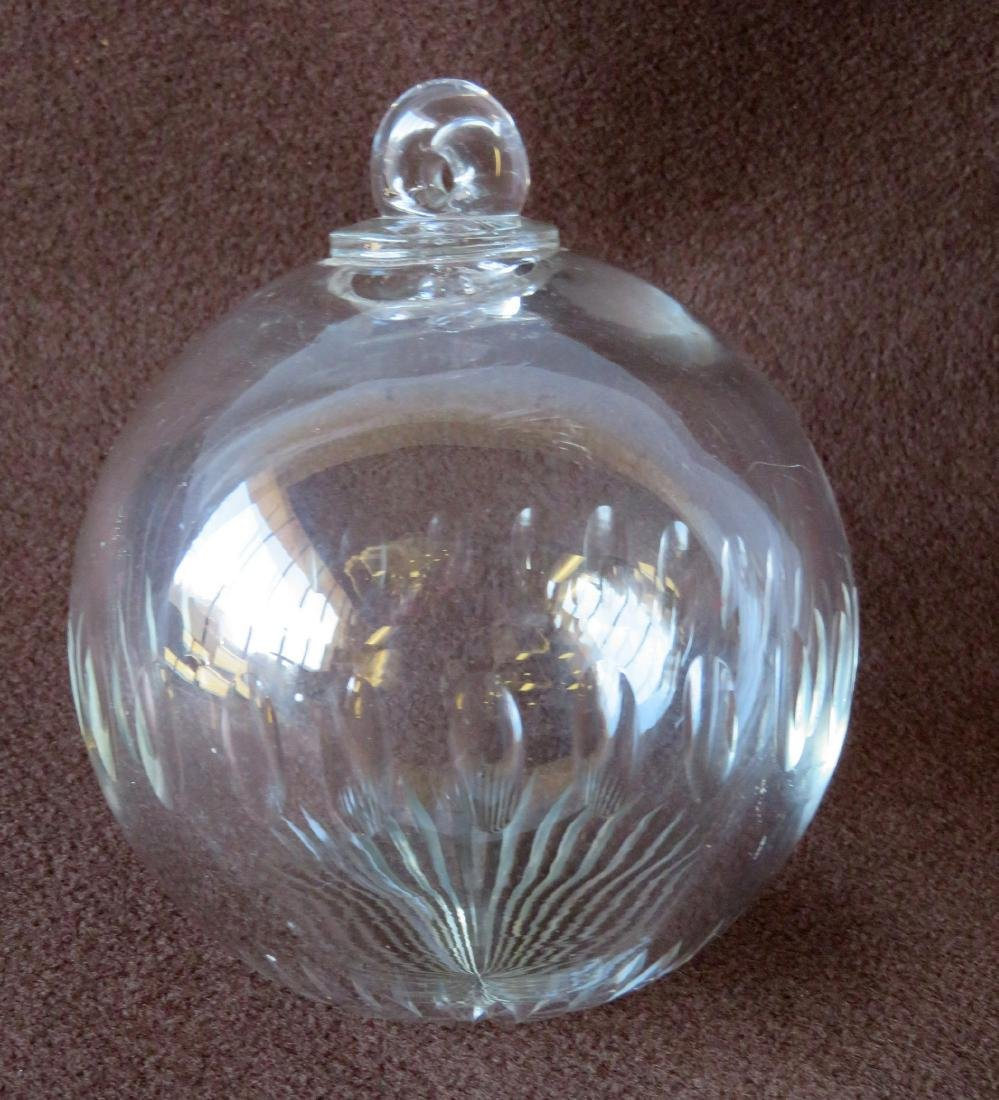 An cut crystal ball, possibly a Christmas ornament,