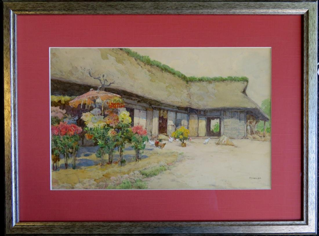 W/C Barnyard scene with chickens, barn and flowering