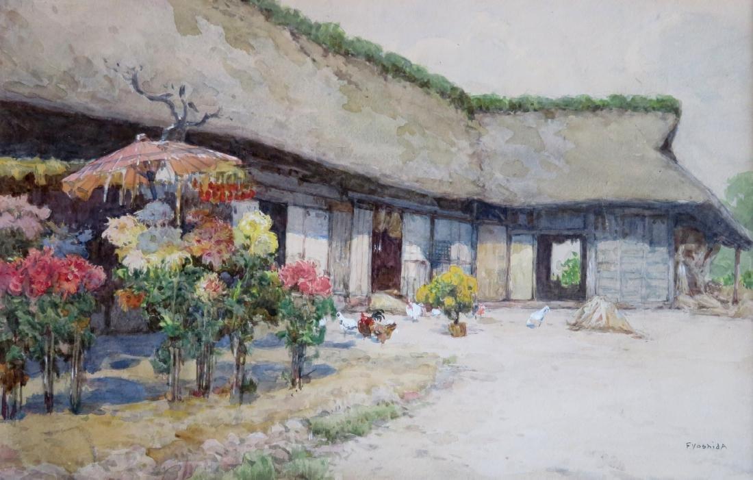 W/C Barnyard scene with chickens, barn and flowering - 2