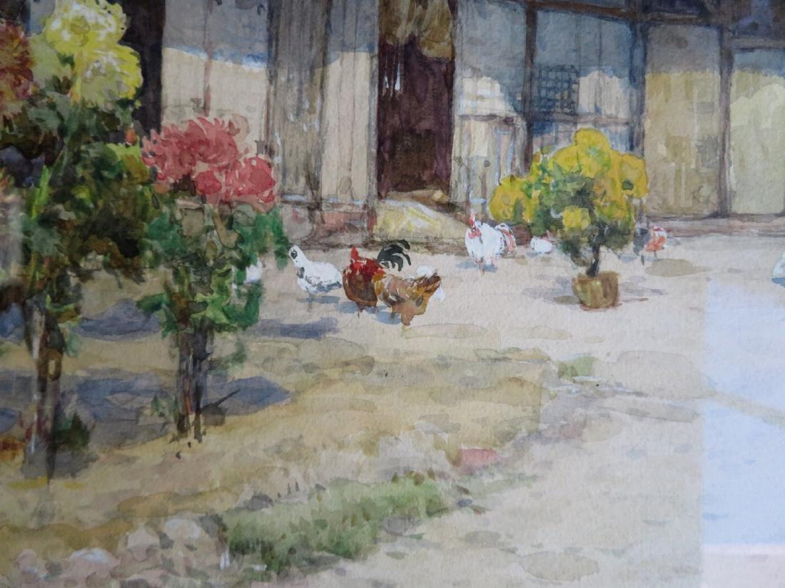 W/C Barnyard scene with chickens, barn and flowering - 4