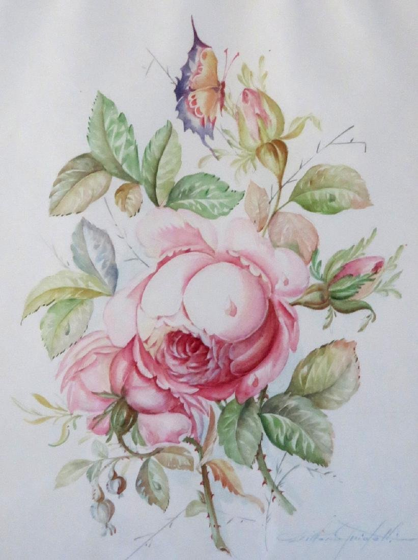 High quality W/C Still life of flowers, signed - 3