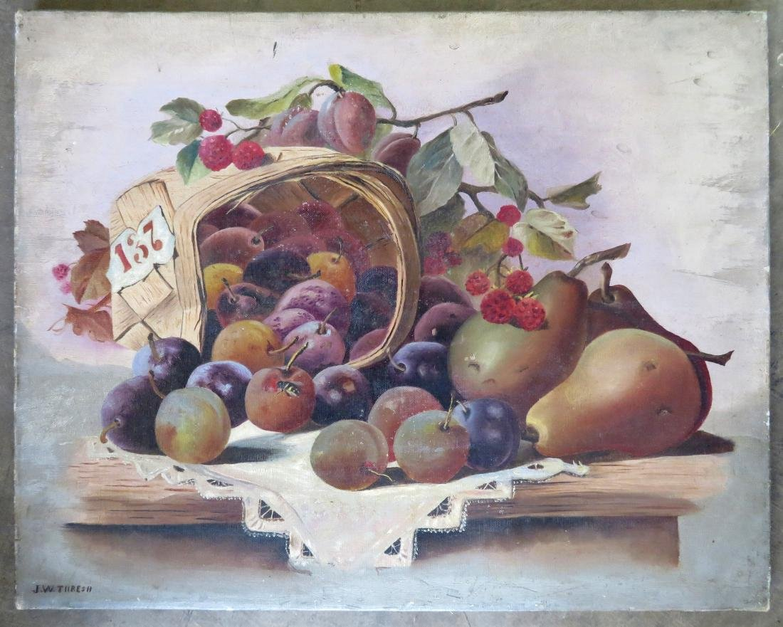 O/C Still life of fruit in a basket laying on table,