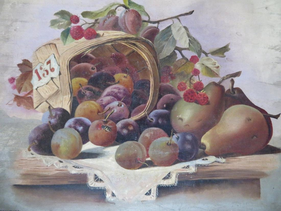 O/C Still life of fruit in a basket laying on table, - 2