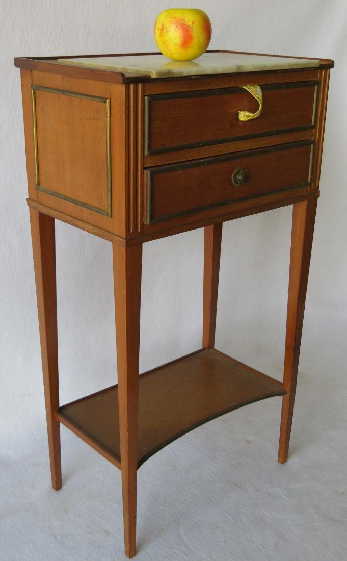 Small 2 drawer French style lamp table with marble top, - 2