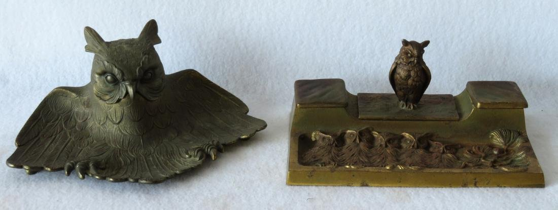 Two figural brass owl form inkwells including: Owl with
