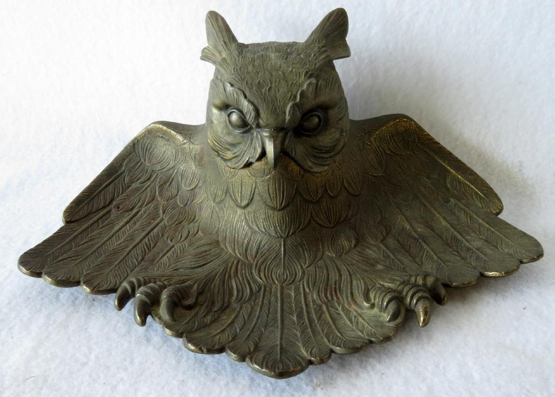 Two figural brass owl form inkwells including: Owl with - 2
