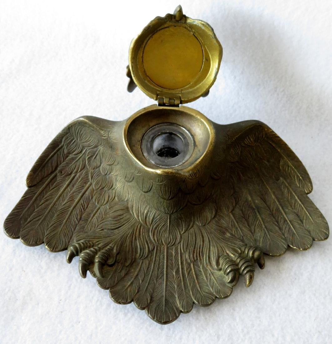 Two figural brass owl form inkwells including: Owl with - 3