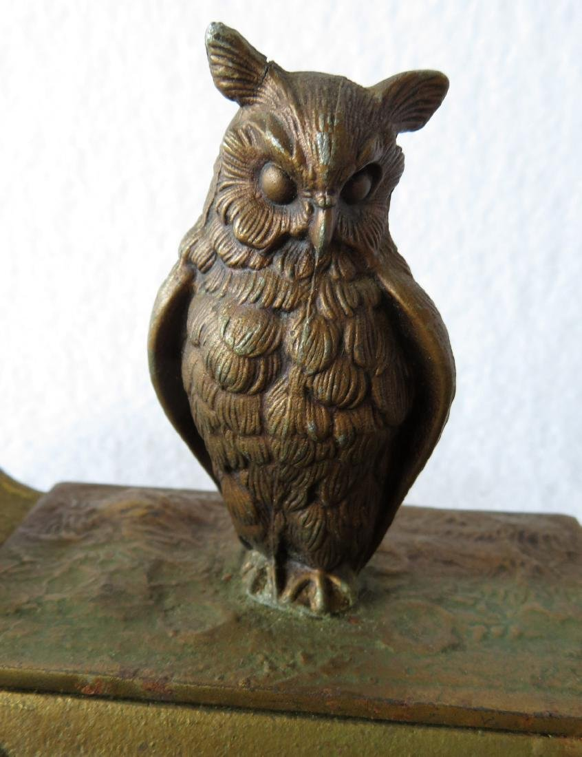 Two figural brass owl form inkwells including: Owl with - 6