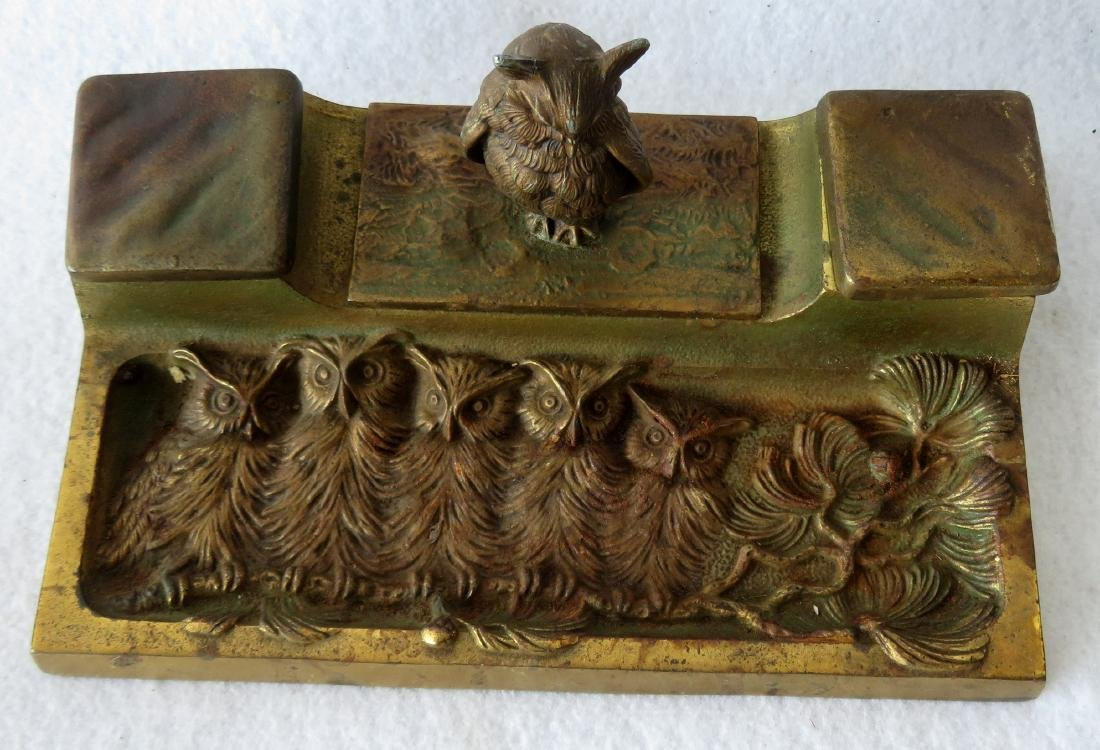 Two figural brass owl form inkwells including: Owl with - 7
