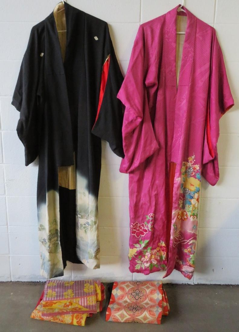 Two Japanese silk kimonos and 2 obi's.