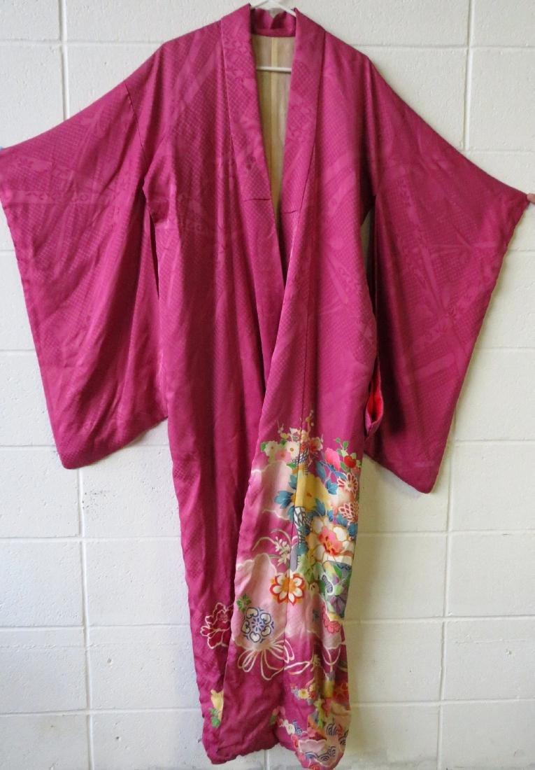 Two Japanese silk kimonos and 2 obi's. - 2