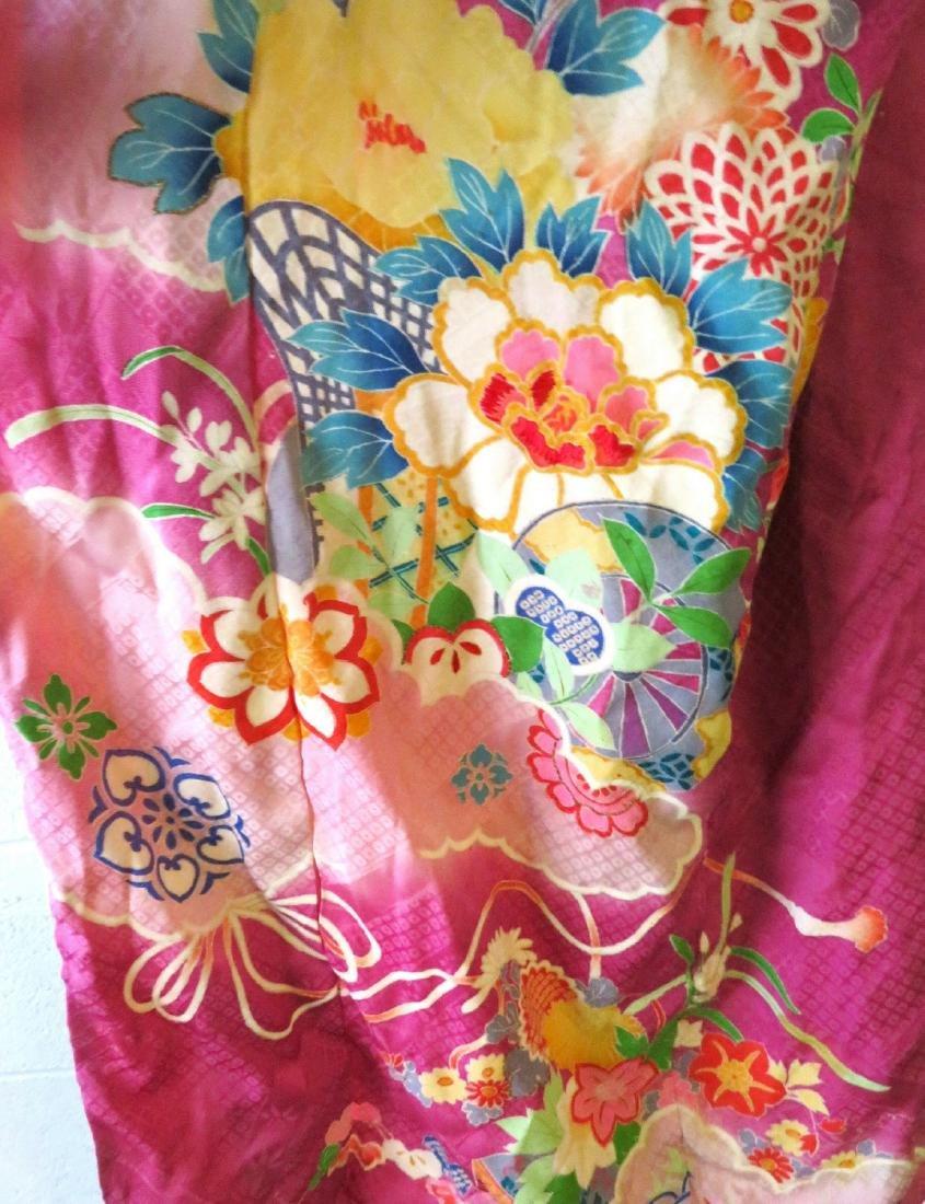 Two Japanese silk kimonos and 2 obi's. - 3