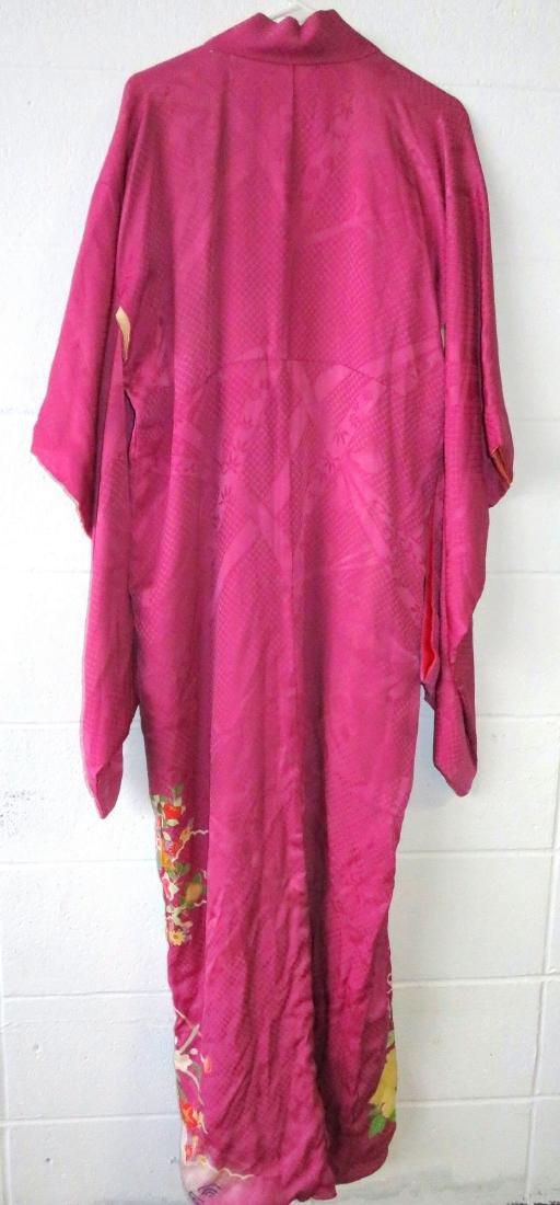 Two Japanese silk kimonos and 2 obi's. - 4