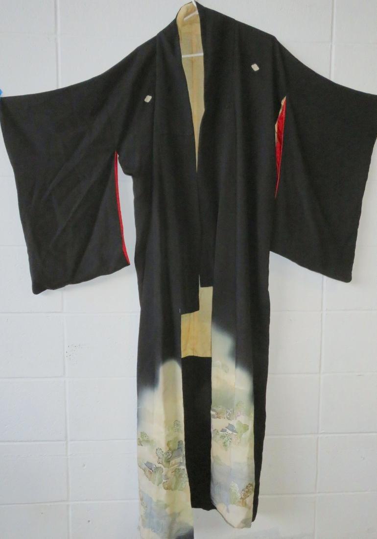 Two Japanese silk kimonos and 2 obi's. - 5