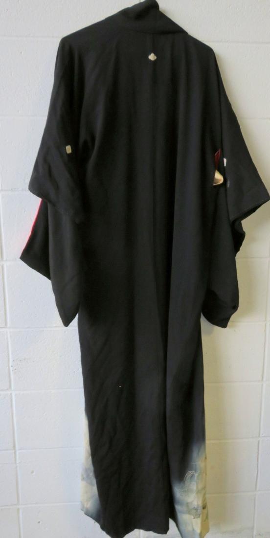 Two Japanese silk kimonos and 2 obi's. - 7