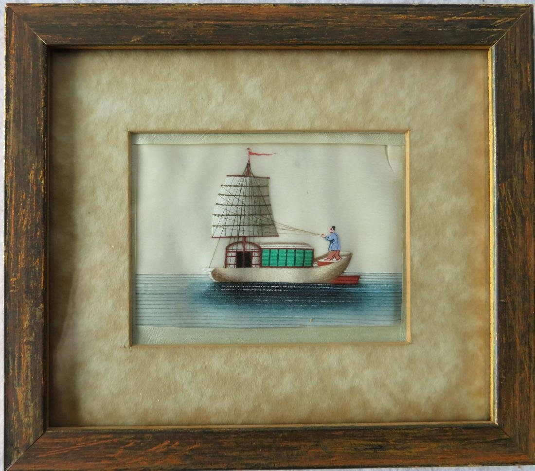 Chinese trade painting on rice paper depicting a junk