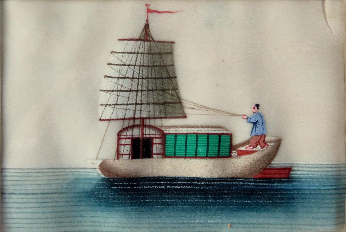 Chinese trade painting on rice paper depicting a junk - 2